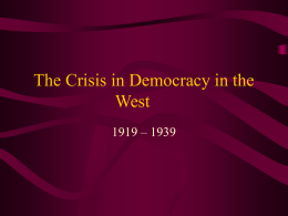 The Crisis in Democracy in the West