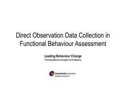 Direct Observation Data Collection in Functional Behaviour