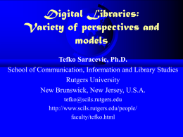 Digital Libraries: Interdisciplinary conceptions, challenges