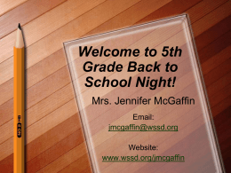 Welcome to 5th Grade Back to School Night!