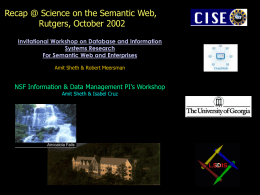 Summary of NSF Databases and the Semantic Web Workshop (1)