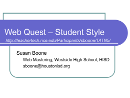 Web Quest – Student Style