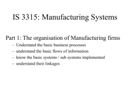IS 3315: Manufacturing Environments