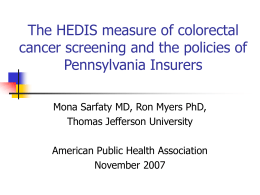 Screening for Colorectal Cancer and Insurance Coverage