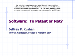Software: To Patent or Not?