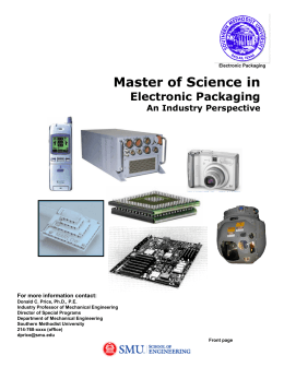 Master of Science Degree in Electronic Packaging An Industry