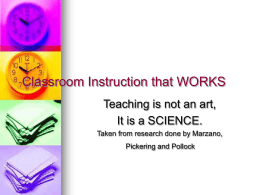 Best Practice/Classroom Instruction that Works