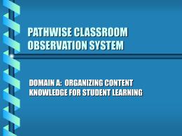 PATHWISE CLASSROOM OBSERVATION SYSTEM