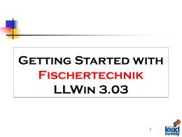 Getting Started with FischerTechnik LLWin 3.0