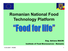 Romanian National Food Technology Platform