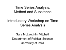 Time Series Analysis - Social Science Research Commons