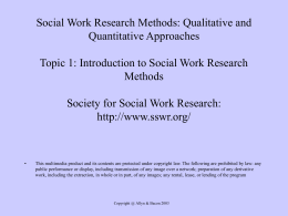 Introduction to Social Work Research Methods