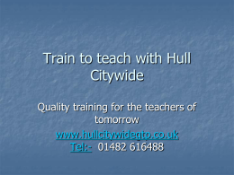 Train to teach with Hull Citywide