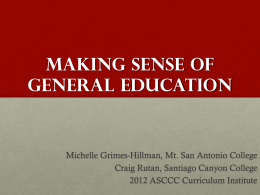 Making Sense of general education