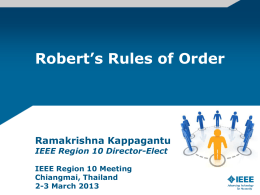 Presentation of Robert`s Rules of Orders