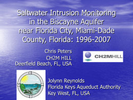 Saltwater Intrusion Monitoring in the Biscayne Aquifer near Florida