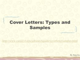 Cover Letters: Types and Samples