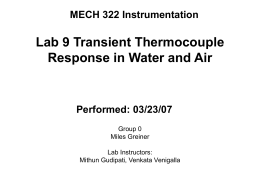 MECH 322 Instrumentation Lab 9 Transient Thermocouple