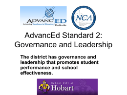 AdvancEd Standard 2: Governance and