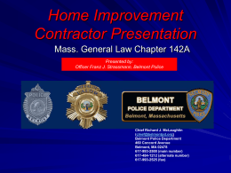 Slide 1 - Belmont Police Department