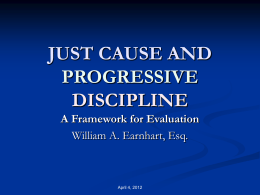 just cause and progressive discipline