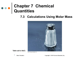7.3 Calculation Using Molar Mass