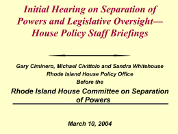 Legislative Oversight - State of Rhode Island General Assembly