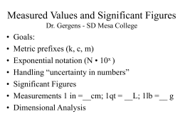 Measured Values and Significant Figures Dr. Gergens