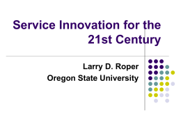Service Innovation for the 21st Century