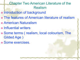 Chapter Two American Literature of the Realism