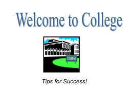 Tips for Success - Department of Resident Life
