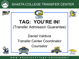 TAG: YOU`RE IN! - Shasta College