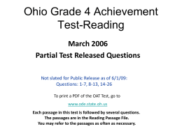 Ohio Grade 4 Reading Test March 2006