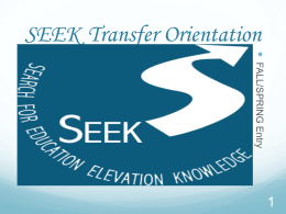 SEEK Transfer Orientation