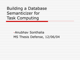Building a Database Semanticizer for Task Computing