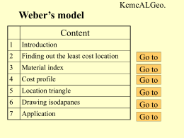 Weber`s model of industrial location