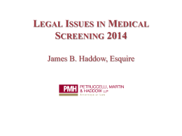 legal issues in medical screening 2014