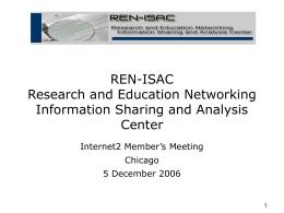 (ISACs). - REN-ISAC
