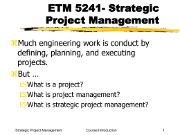 ETM 5241 Strategic Project Management