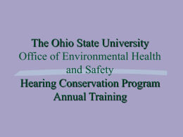 The Ohio State University Hearing Conservation Program Annual