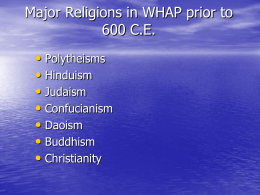 Major Religions in WHAP prior to 600 CE