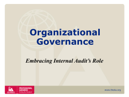 Organizational Governance , Embracing Internal Audit