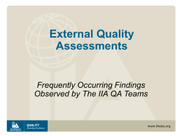 Common Observations from External Quality Assessments