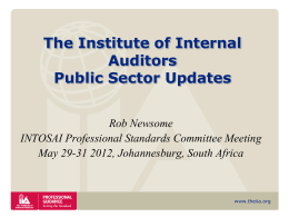 The IIA Public Sector Update - INTOSAI`s Professional Standards