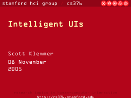 Intelligent UIs