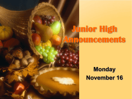 Junior High Announcements - Greater Atlanta Christian