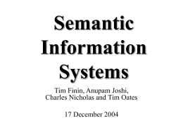 Semantic Information Systems - UMBC ebiquity research group