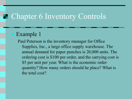 Chapter 6 Inventory Controls