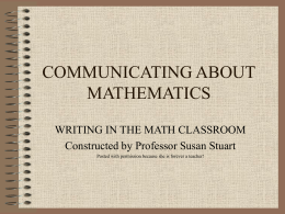 COMMUNICATING ABOUT MATHEMATICS