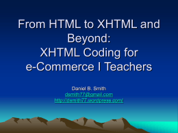 From HTML to XHTML and Beyond